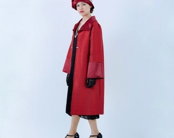 Handmade 1920s flapper coat in red, Great Gatsby coat, Downton Abbey coat, Art deco jacket, red Gatsby costume, Miss Fisher coat, 20s jacket