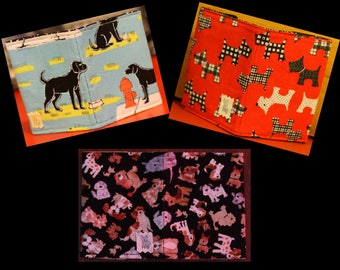 Card wallets 100% cotton in various dog designs.