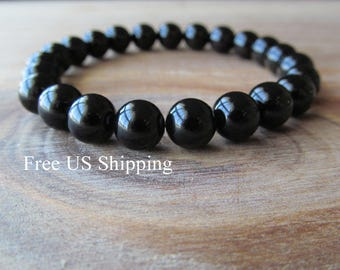 Black Onyx  Bracelet, Stacking Bracelet, Men's Bracelet, Mala Bracelet, Layering Bracelet, Beaded Bracelet, Gift for Men, Men's Fashion