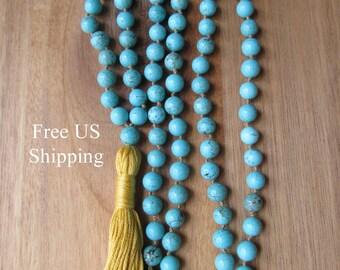 Turquoise Mala Beads, 108 Bead Mala, Turquoise Magnesiite, Tassel Necklace, Yoga Jewelry, Prayer Beads, Japa Mala, Meditation Beads