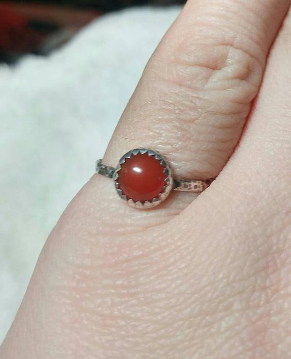 Natural Red Stone Ring | Sterling Silver Ring Sz 8 | Carnelian Stone | Carnelian Agate Ring | Carnelian Ring | Boho Ring | Gemstone Ring