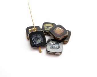 Black Square Table Cut Czech Glass Beads, (6 pcs) 14mm Black Square Beads, Black Czech Beads, Geometric Beads, Table Cut Beads SQU0014