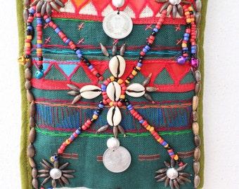 Green Boho Bag, Green Crossbody Bag, Tribal Crossbody Bag, Fabric Crossbody Bag, Hill Tribe Bag, Green Fabric Bag, Akha Bag, Green Satchel