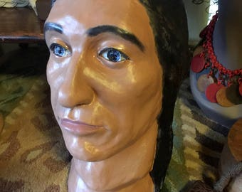Vintage Handmade Native American Indian Plaster Bust / Statue ~ Realistic look, Ominous Stare