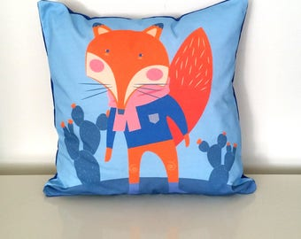 Fox cushion, Nursery cushion cover, Scandinavian pillow, Decorative throw pillow, Designer cushion cover, Printed pillow, INSERT INCLUDED