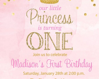 Princess Birthday Party Invitation - Printable or Printed with FREE SHIPPING