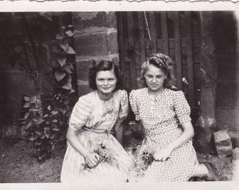 Two Pretty Young Ladies Sitting In Garden - Vintage Photograph
