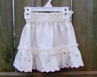 18 - 24 mth. Baby Skirt, Upcycled Baby Skirt, Toddler Skirt, Pink Ruffled Baby Skirt, Baby Shower Gift, Baby Girl Gift, Cute Toddler Skirt