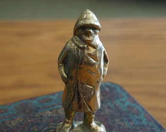 "Vintage Solid Brass Fisherman-Sea Captain Figurine 3.25"" Tall"