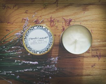 French Lavender Candle   8 oz Soy Candle in Gold Tin   floral candle, sweet candle, gifts for her, relaxing candle