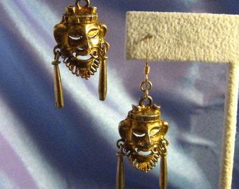 Vintage Aztec Earrings Gold Overlay Pre-Eagle Sterling Silver Mayan Mask Hook Earrings Pierced