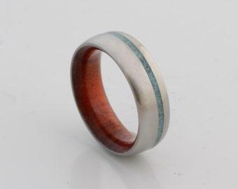 turquoise wedding ring wood ring wood wedding band red heart ring mens wedding ring man jewelry woman wedding ring