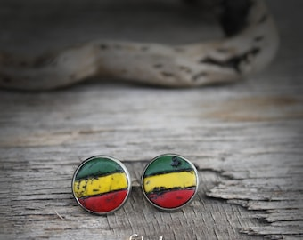 Rasta stud earrings rasta earrings rastafarian jewelry rasta jewelry reggae earrings Jamaican style rasta colors bob marley hippie earrings