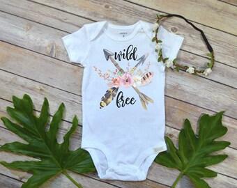 Wild and Free Baby, Baby Shower Gift, Boho Baby Clothes, Cute Baby Clothes, Baby Girl Clothes, Hippie Baby, Baby Girl Gift, Baby Shower gift