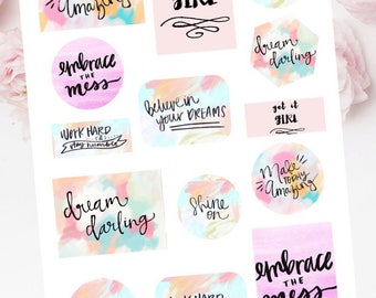 INSPIRATIONAL Watercolor Stickers for your Planner