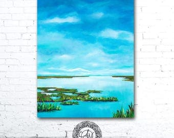 Blue Sky Painting, Colorful Landscape Painting, Colorful Wall Art, Coastal Landscape, Coastal Decor, Marsh Painting, Blue Water Painting