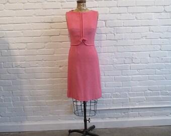 1960s Pink Lanz Original Dress // 60s Pink Boucle Dress // Vintage 60s Sheath Dress