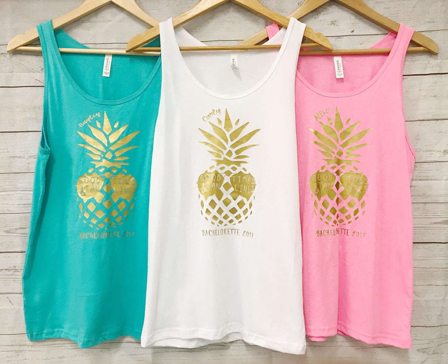 Summer Bachelorette Party Pineapple Good Times and Tan Lines with Custom Name Tanks