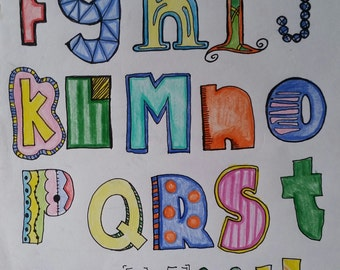 Digital Print, ABCs, Alphabet Print, Nursery Art, ABC print, Baby room art, Kids art, Prints, DIY Print, Printable Art, Printable download,