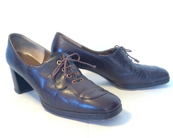 Vintage 40s Stacked Heel Oxford Shoes Women's Size 5 1/2 6
