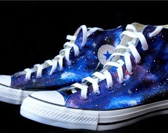 Custom handpainted galaxy shoes, galaxy Converse, galaxy Vans