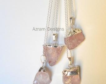 Rose Quartz Necklace, Crystal Necklace, Raw Crystal Necklace,Crystal Necklace, Bridesmaid Gift, Healing Crystal, Raw Crystal,  Healing Stone