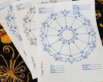 Floral Astrology Chart, Astrology Wheel, blank  (digital download)