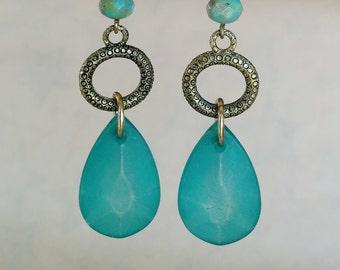 Dweller of the Deeps Earrings - Tide Shaped - Aqua, turquoise, green, copper, bronze, prism, drop earrings