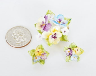 Bone China Pansy Brooch And Earrings - Made In England - Vintage