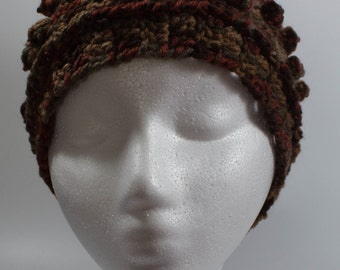 Brown crochet ear warmer headband