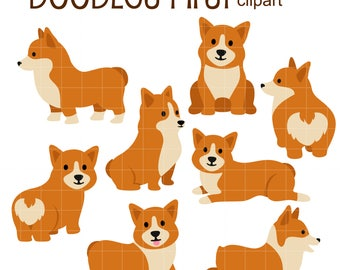 Cute Corgis Digital Clip Art for Scrapbooking Card Making Cupcake Toppers Paper Crafts