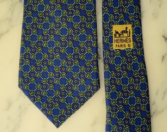 Hermes Paris vintage blue patterned tie