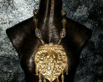 Brass Lion Pendant Statement Necklace Antique Chinese Brass Pendant Exotic Ethnic Necklace Golden Necklace OOAK Wearable Art Runway Rich