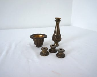 Vintage Lamp Part Salvage Lot of 5 Metal Pieces