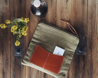 Vintage Grain Sack & Leather Zip Pouch - Fold-Over Wallet