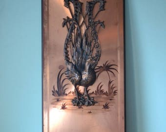 Retro Copper art 2D Wall hanging Lyre Bird lyrebird 1970s