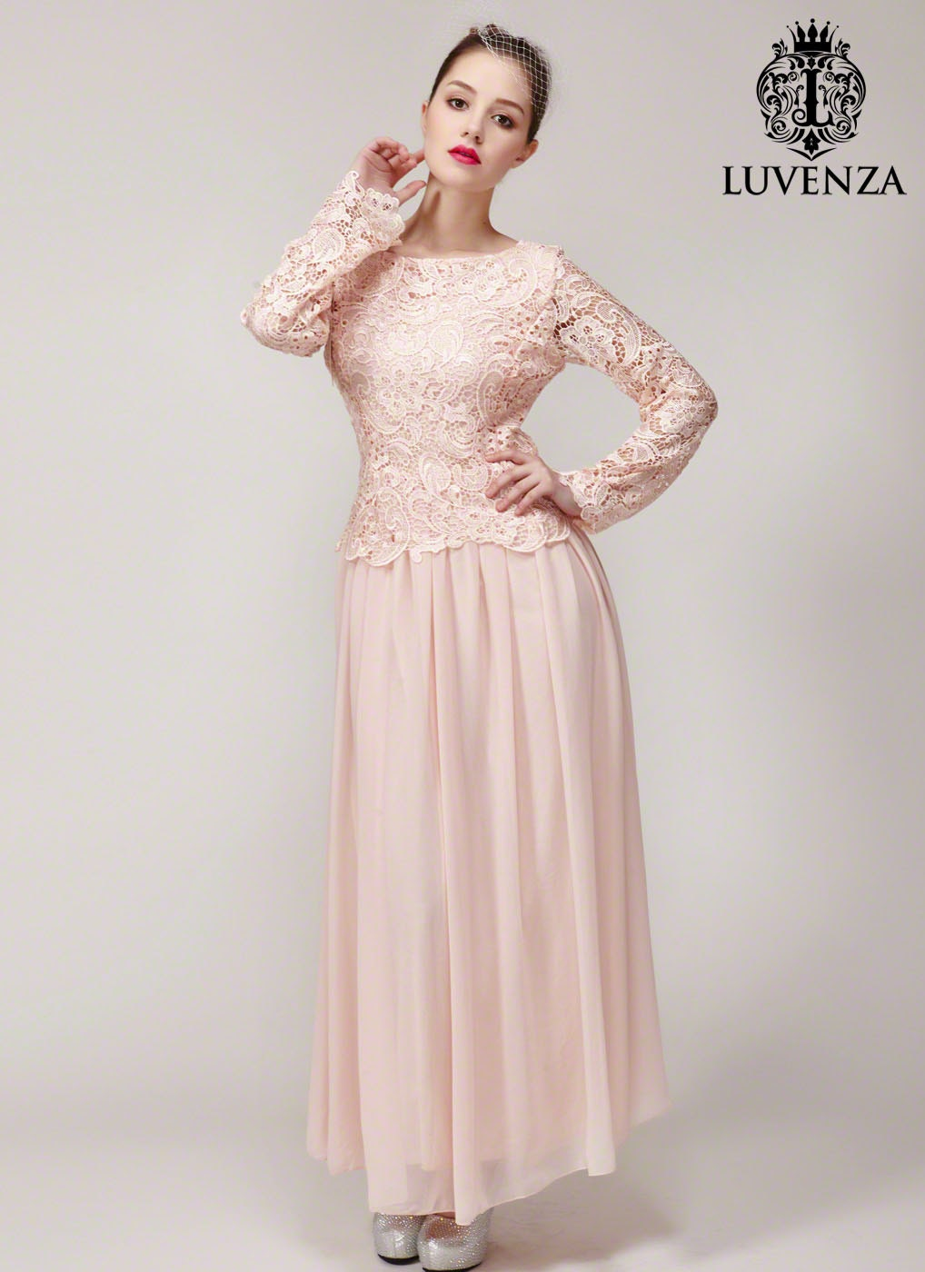 Nude pink lace bridesmaid dress long sleeve maxi dress zoom ombrellifo Images