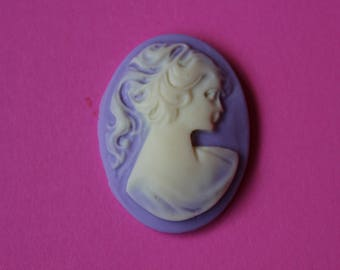 40x30mm Loose Unset Lavender Victorian Lady Cameo