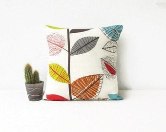 Colourful Leaf cushion cover, 12 inch pillow, handmade in the UK