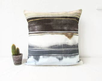 Grey pillow cover, 16 inch square, handmade in the UK