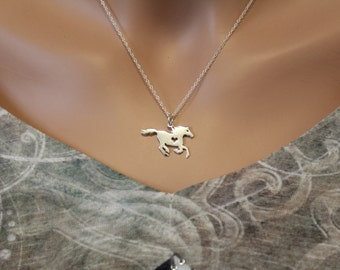 Sterling Silver Horse Necklace, Silver Horse Necklace with Heart, Stallion Necklace, Silver Stallion Necklace, Country Horse Necklace