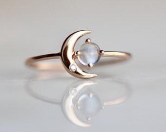 14K Moonstone Star And Moon Ring, Diamond, Night Sky, Astrology Jewelry, Moonstone Ring, June Birthstone, Moon Ring, Crescent Moon