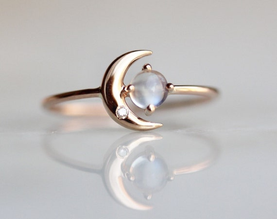 moonstone rings with stars - photo #31