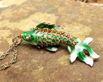 Antique Chinese Fish Pendant Silver Vermeil Green Enamel Articulated Fish Goldfish Koi Fantail Necklace