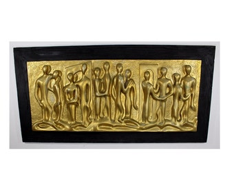 Mid Century Modern Large Gold People Bas Relief Wood Frame Hanging Sculpture