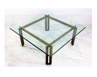 Mid Century Modern Pace Brass over Bronze Square Coffee Table