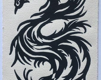 Original Postcard Phoenix Linocut with postage affixed