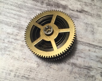 Jewelry Lot Large Round Brass Gear from an Antique Clock Toothed wheels Large Gear Clock Repair, Steampunk Supplies Clock Parts Found Object