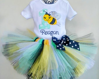 Mint Bee 1st Birthday Tutu Outfit, Bumble Bee Outfit Set