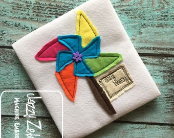 Easy Breezy Pinwheel Shabby Chic applique embroidery design - Pinwheel appliqué design - Easy Breezy saying embroidery design - bean stitch